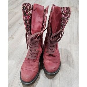 DR MARTENS Red Triumph RED with Floral Pattern